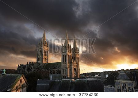 Truro cathedral at sunset