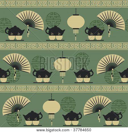 Seamless pattern tea time