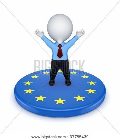 European Union symbol and happy 3d small person.