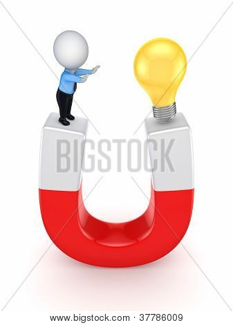 3d small person and idea symbol on a horseshoe.