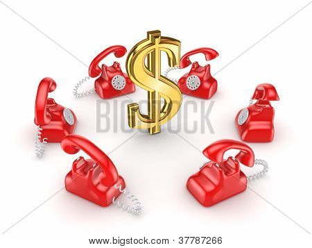 Retro telephones around golden dollar sign.