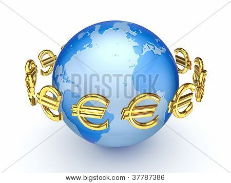 Euro signs around globe.