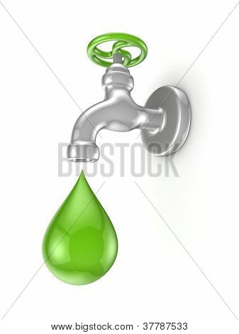 Iron tap and green drop.