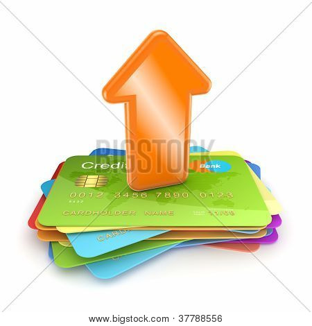 Orange arrow on a colorful credit cards.