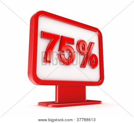 Red lightbox with a signature 75%.