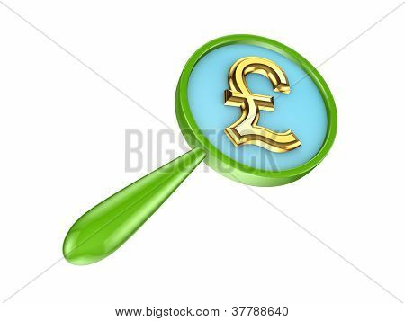 Green loupe and golden pound sterling sign.