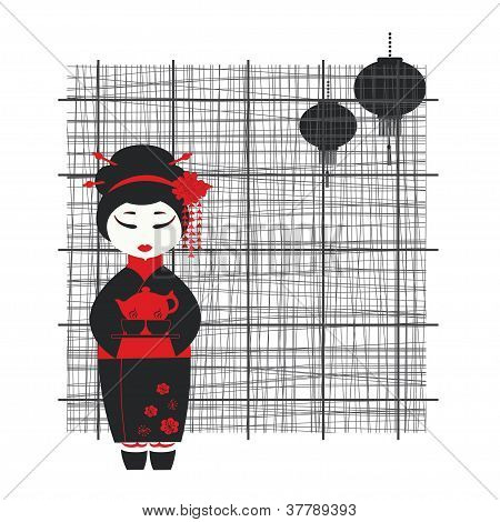 Geisha girl . Tea ceremony