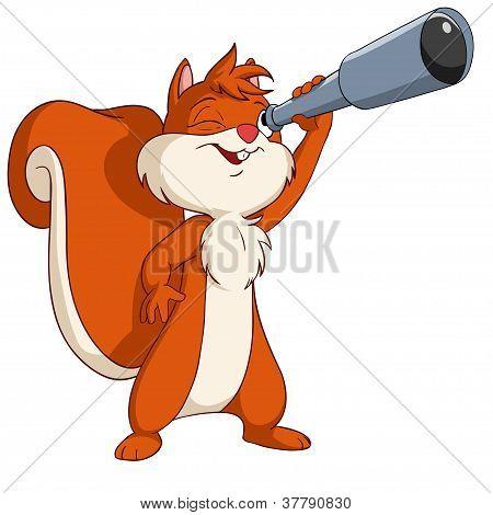 Cute Cartoon Squirrel Looking Through A Telescope