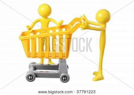Rubber figures with Miniature Shopping Trolley