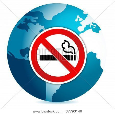 Do Not Smoke Sign Illustration Design Over A Globe