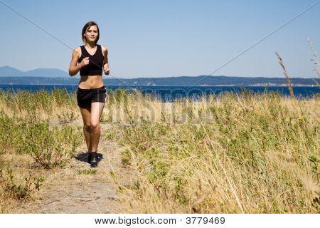Sporty Caucasian Girl Running