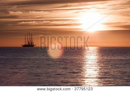 Sunset On Fire In Sea