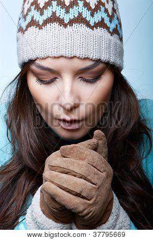 woman warm hands