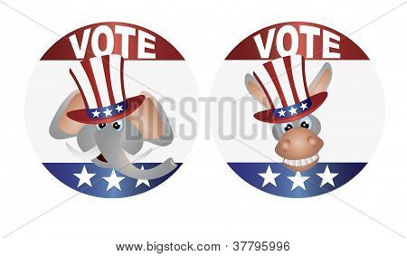 Vote Republican And Democrat With Uncle Sam Hat Buttons Illustration