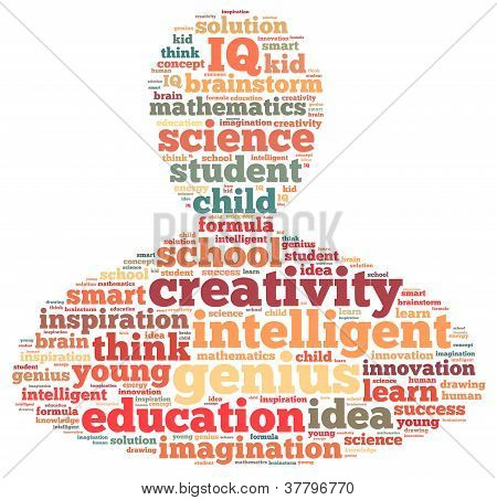Genius info-text graphics and arrangement concept on white background (word cloud)