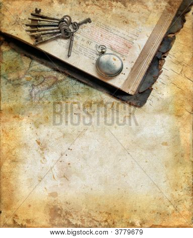 Vintage Bible, Watch, Keys, And Map On A Grunge Background