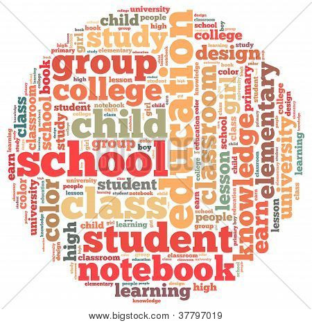school info-text graphics and arrangement concept on white background (word cloud)