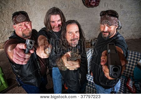Smiling Gang Members With Weapons