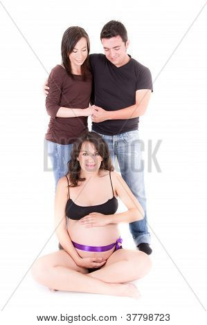 surrogate mother concept, pregnant woman and couple