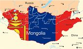 picture of bator  - Vector map of Mongolia country colored by national flag - JPG