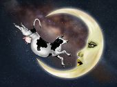 picture of nursery rhyme  - Illustration of a dairy cow jumping over the moon - JPG