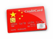 Credit Card Covered With China Flag.
