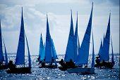 stock photo of sail-boats  - international sailing race off penzance - JPG