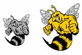 stock photo of hornet  - Angry hornet or yellow jacket mascot in cartoon style - JPG