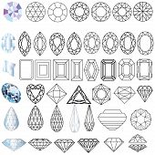 stock photo of precious stone  - illustration cut precious gem stones set of forms - JPG