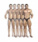 foto of hypertrophy  - Illustration depicting a bodybuilder gaining muscle mass over time  - JPG