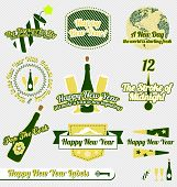 Vector Set: Vintage Happy New Year Labels