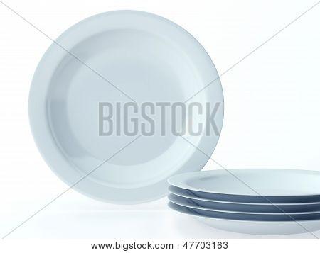 Blue Round Ceramic Dishes Set