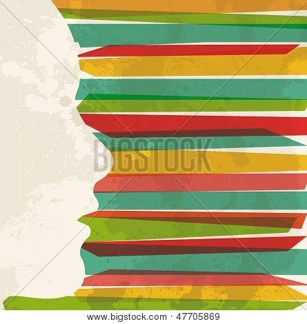 Vintage Multicolor Woman Profile