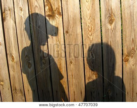 Shadow Of The Amicable Boy And Girl