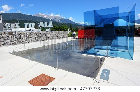 WATTENS, AUSTRIA - JULY 1: Entrance to Swarovski Kristallwelten exhibition of glass art, july 1, 2013 in Wattens, Austria. Swarovski is producer cut crystal. Company it was founded by in 1895.