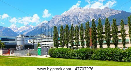 WATTENS, AUSTRIA - JULY 1: Swarovski Corporation headquarter, july 1, 2013 in Wattens, Austria. Swarovski Corporation is traditional producer cut crystal. Company it was founded by in 1895.
