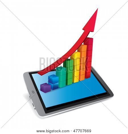 3d tablet with chart on a background of illustration business diagram