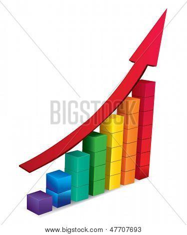 flecha 3D y gráfico de crecer. Ilustración de Vector