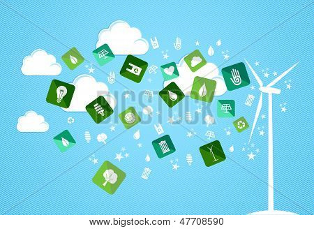 Cloud Splash Eco Friendly Icons