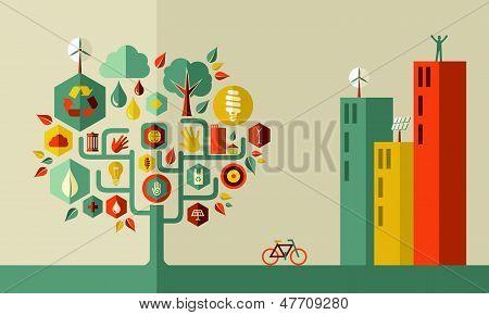 Concepto de ciudad verde