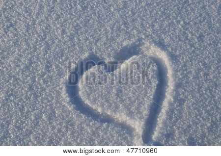 Simple Heart Shape Draw Snow Concept Winter Love