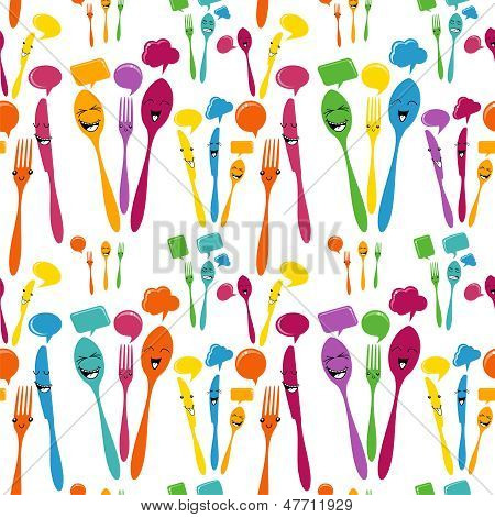 Silverware Icons Seamless Pattern
