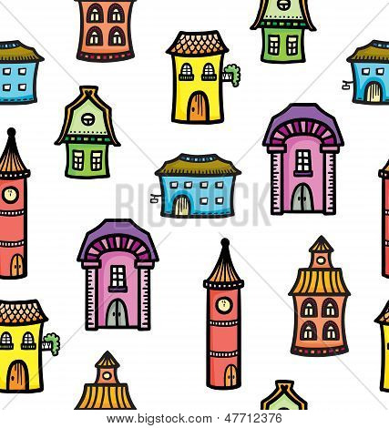 Pattern With Cute Cartoon Colorful Houses