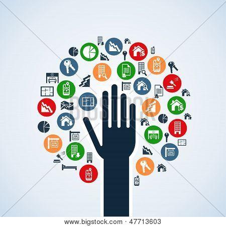 Immobilien Symbolsatz Hand Baum