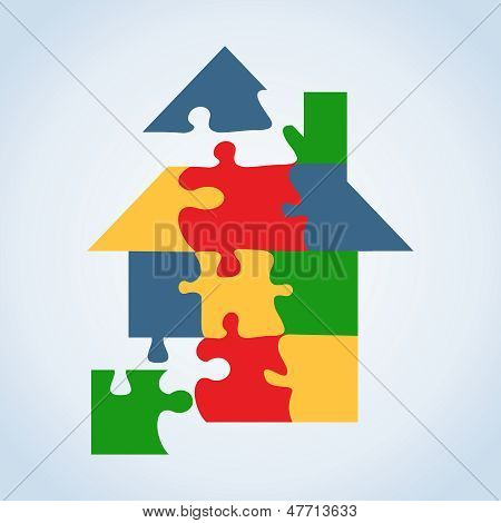 Real Estate Icon Set Jigaw Shape