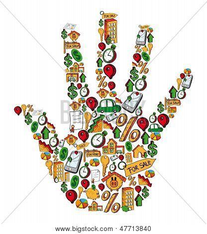 Immobilien Hand Symbolsatz