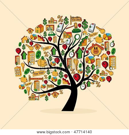 Real Estate Icon Set Tree