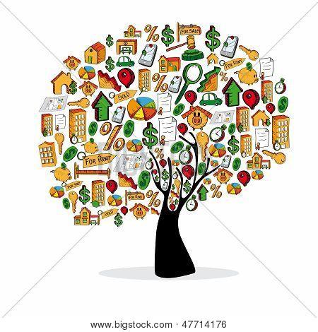 Immobilien Icon Set Baum