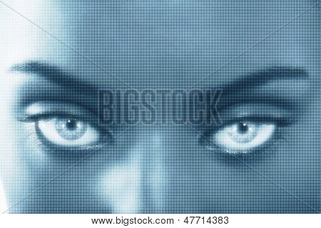 Closeup portrait of young woman with superimposed grid