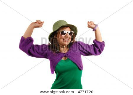 Stylish Attractive Young Girl Possing With Sun Glasses And Hat